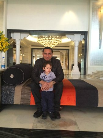 ITC Mughal, Agra: Me and my Son in the Hotel Lobby.