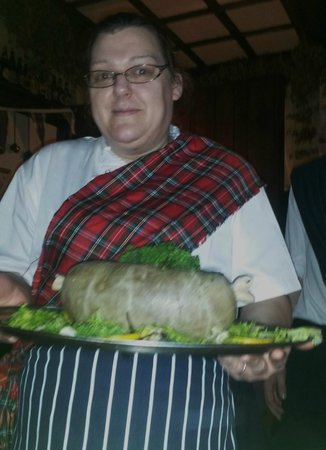 The Old Poets' Corner Restaurant: The piping in of The Haggis (yum)