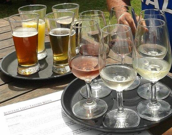 Wild on Waiheke: Beer tasting tray & wine tasting tray