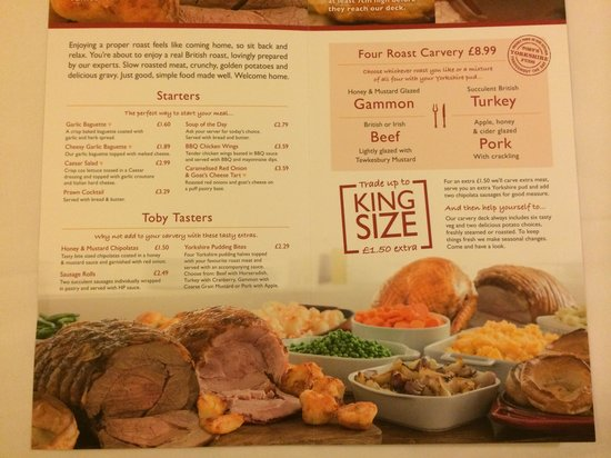 Innkeepers Lodge Doncaster, Bessacarr: La carte du restaurant