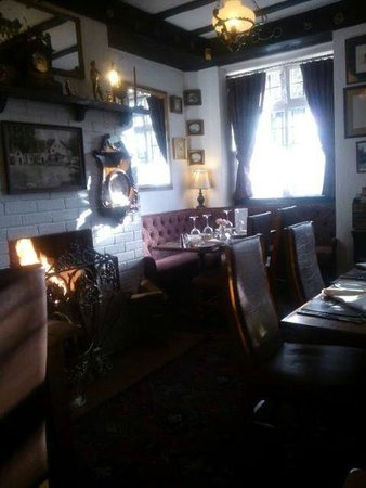 The Vine Inn: log fire in the restaurant
