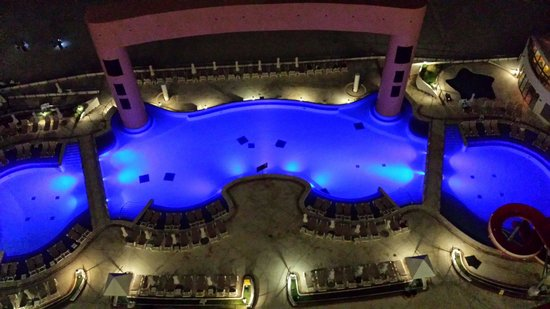 Beach Palace pool at night