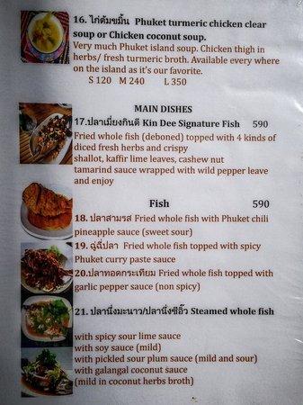 Kin Dee Restaurant Phuket Menu