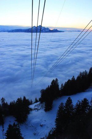 Mt. Rigi: Going through the thick fog and Mt.Pilatus just right in front of us!