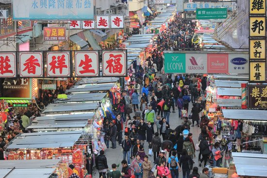 Royal Plaza Hotel : Markets on nearby Fa Yuen Street looking from the overhead walkway to Mong Kok underground Stati