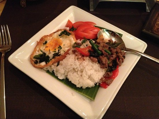 Thai Star: Phad Grapau with beef and jasmine rice