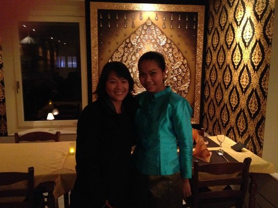 Thai Star: Photo of me (left) and the enchanting waitress Ratcha Thotham (right)