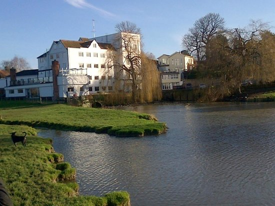 The Mill Hotel: View of the hotel accross the pond