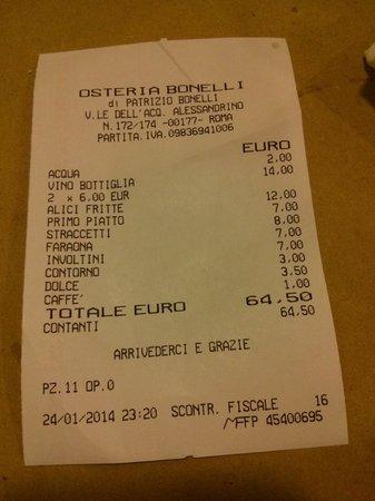 Osteria Bonelli: il conto