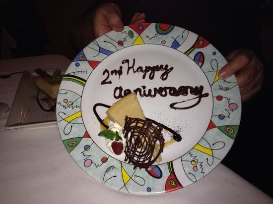 The Crazy Fox Bistro : Our anniversary dessert and dinner were excellent! Totally enjoyed it!