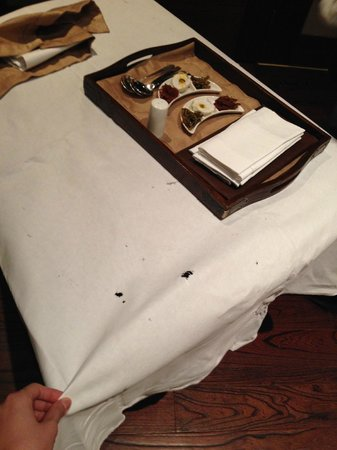 St. Regis Lhasa Resort: Room service table cloth with holes