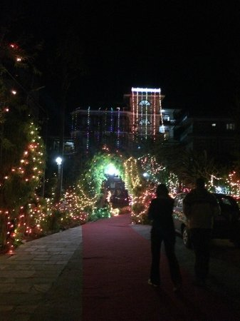 Hotel Tulsi Pokhara Pvt Ltd: Wedding lights in the entrance driveway to the hotel