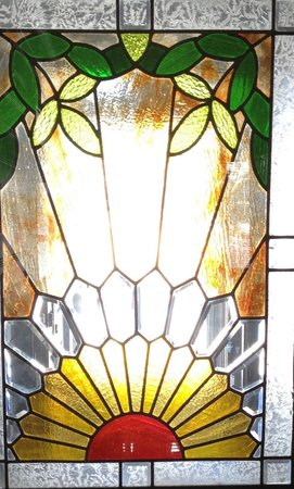 Sunburst Condominiums: Stained glass entrance