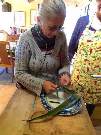 Arcos Del Atascadero: Patricia showing us a u use for aloe