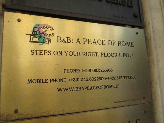 A Peace of Rome: Entrance sign