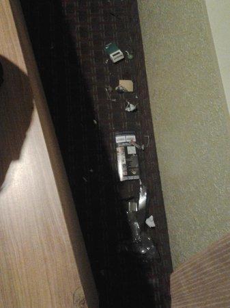 Hotel Rose Garden: trash behind furniture, never cleaned