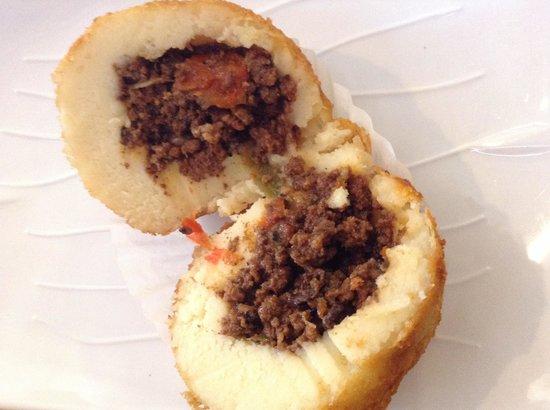 Tropicana Bakery and Cuban Cafe: Inside of potato ball, nicely seasoned!