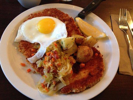 Simpatica Dining Hall: Pork schnitzel - yummy!