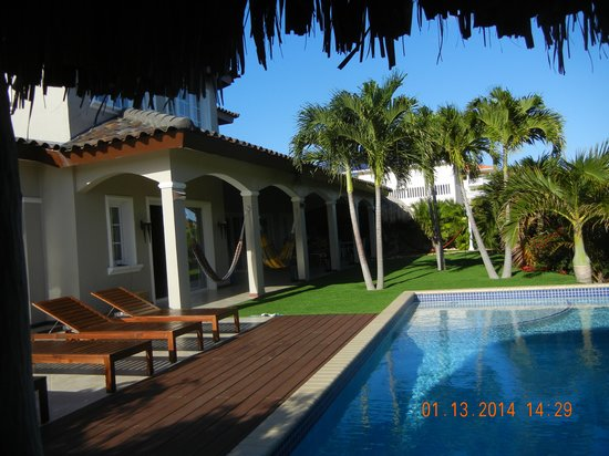 Hibiscus Beach House: view from the palapa - palm hut