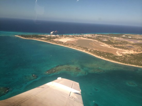 Bohio Dive Resort: Grand Turk from the air - Bohio would be on the beach to the right.