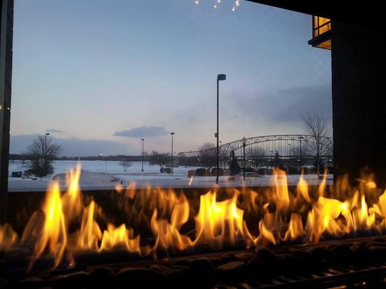 Woodfire Grille at Diamond Jo Casino: view from our table of the bridge over the Mississippi