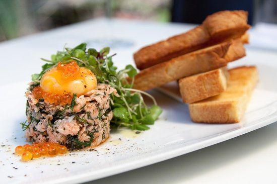 House Smoked Salmon, Slow Poached Egg Yolk & Brioche - Picture of The ...