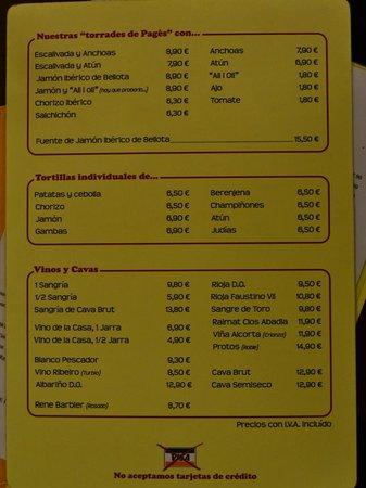 La Bombeta: Menu in Spanish. Jan 2014