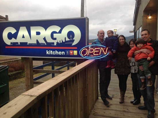 Cargo Kitchen and Bar: Owner, the Chef and their families outside the front door