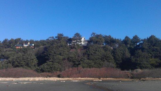 Ocean Crest Resort as seen from beach facing East.