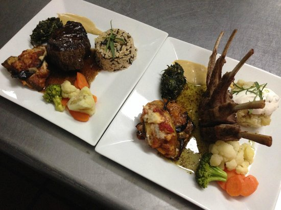 Shirvan Watermill Restaurant: rack of lamb and a beef tenderloin