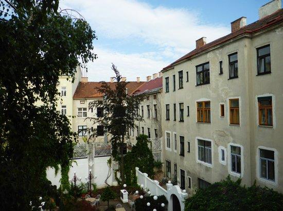 Altwienerhof: View over courtyard from a passage way window