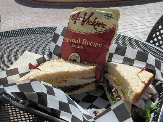 Richard's Fine Coffee: Turkey, ham and cheese sandwich