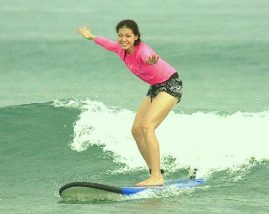 Cynthia Surfing In Bali at UP2U Surf School Bali