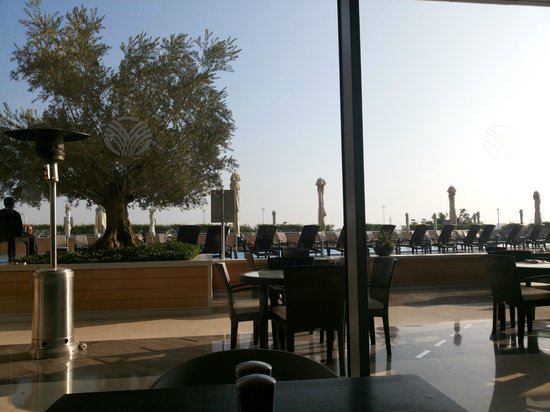 Oryx Rotana Doha: looking out to the pool from Choices