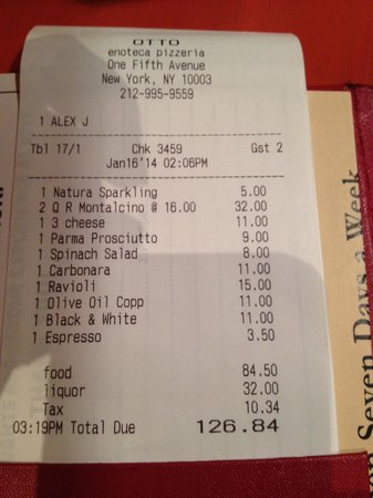 Otto Enoteca & Pizzeria : Total price