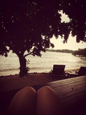 The Menjangan: Sitting on the bean bag at the porch of my beach villa