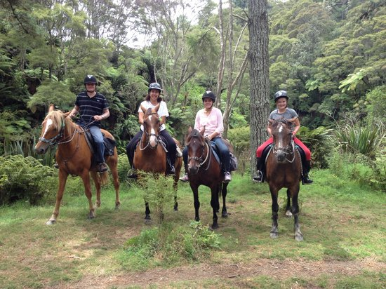 Briars Horse Trek: By the kaituna river, after scoffing wine berries :)