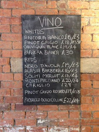Miaitalia: Wine list