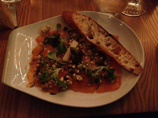 Chez Boulay-bistro boréal : Carpaccio d'omble de l'arctique (appetizer)