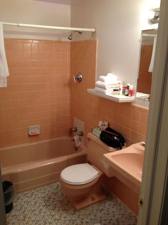 Knights Inn Seekonk MA: Small bathroom with no horizontal space.