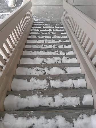 Red Roof Inn Lexington North: Stairs the day we left. One day after the storm. Still icy.