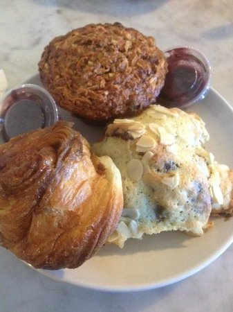 The Blue Door Cafe and Bakery: Morning glory muffin, sticky bun, and almond croissants (all a MUST)