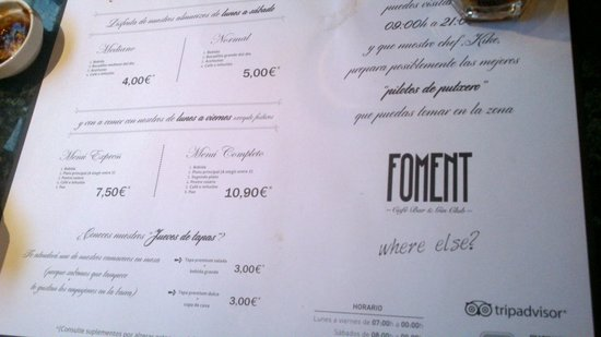 Foment Restaurante: menu
