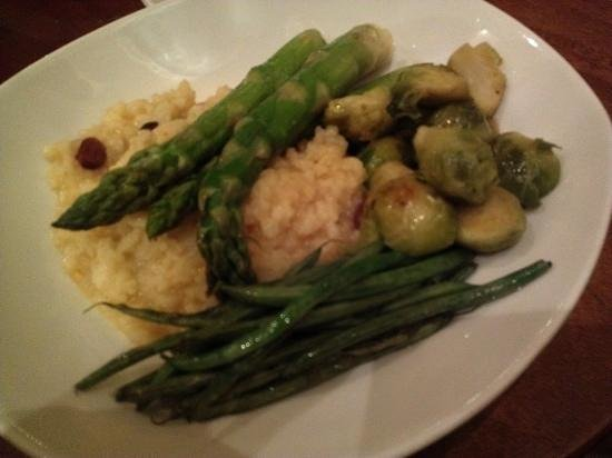 The Century Bar & Grill : requested Veggie plate, risotto, asparagus, brussel sprouts
