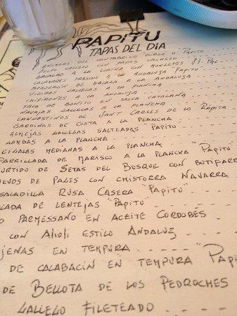 Restaurante Papitu: La carta