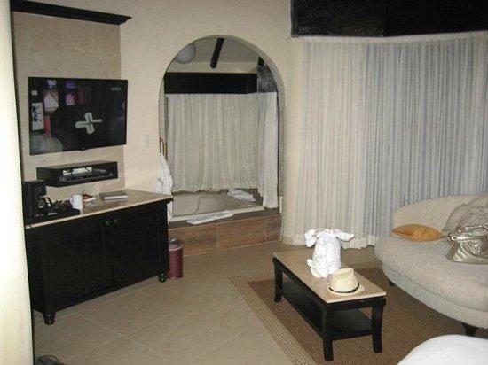 El Dorado Casitas Royale, by Karisma: facing Jaccussi and balcony from bed.
