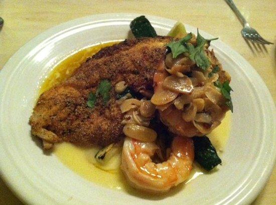 Laughing Ladies Restaurant: Snapper and Tiger Shrimp w/ crispy polenta