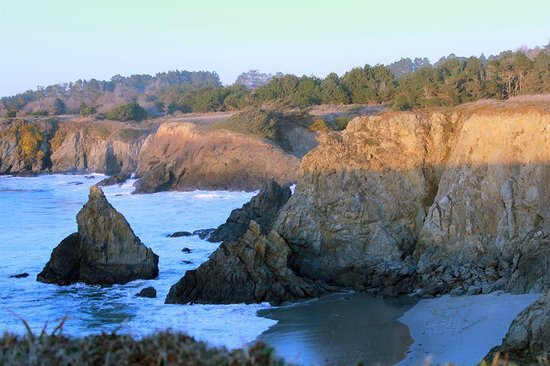 Jughandle State Reserve: View from one of the points into the cove at Sunset