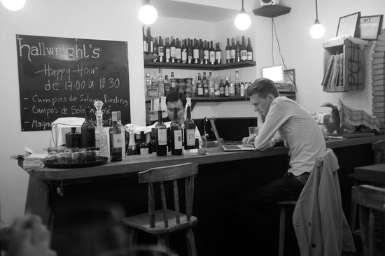 Hallwright's: perched at the bar
