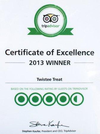 Twistee Treat : tripadvisor certificate